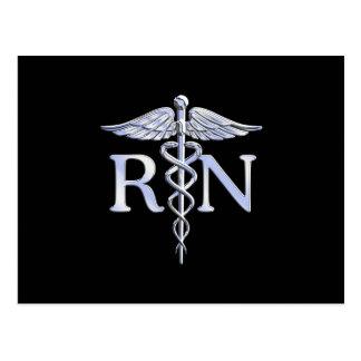 Registered Nurse RN Caduceus Snakes Solid Black Postcard