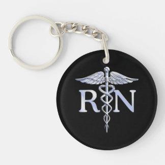 Registered Nurse RN Caduceus Snakes Style on Black Double-Sided Round Acrylic Keychain