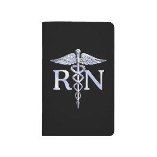 Registered Nurse RN Caduceus Snakes Style on Black Journal