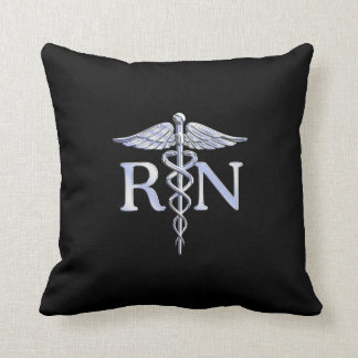 Registered Nurse RN Caduceus Snakes Style on Black Pillow