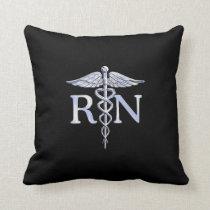 Registered Nurse RN Caduceus Snakes Style on Black Throw Pillow