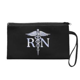 Registered Nurse RN Caduceus Snakes Style on Black Wristlet Purse
