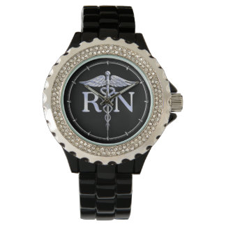 Registered Nurse RN Caduceus Snakes Style on Black Wristwatches