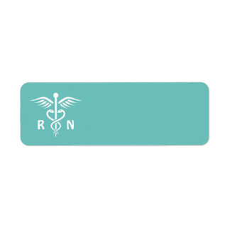 Registered nurse RN caduceus symbol on aqua blank Label