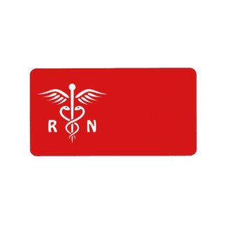 Registered nurse RN caduceus symbol on red blank Label