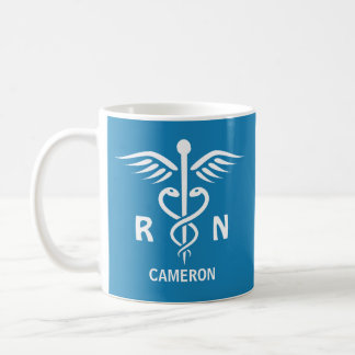 Registered nurse RN caduceus symbol personalized Coffee Mug