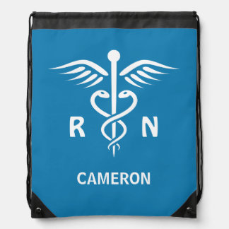 Registered nurse RN caduceus symbol personalized Drawstring Backpack