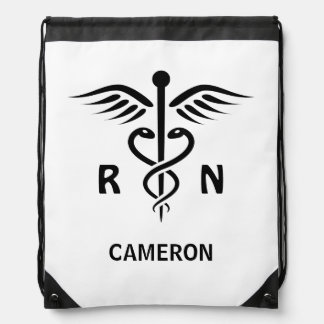 Registered nurse RN caduceus symbol personalized Drawstring Bag