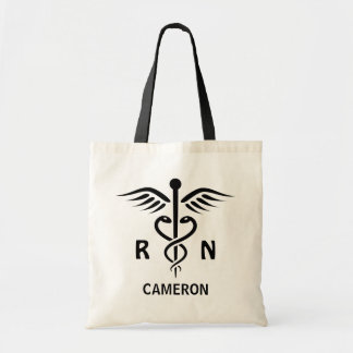 Registered nurse RN caduceus symbol personalized Tote Bag