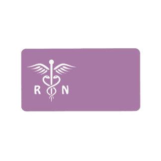 Registered nurse RN caduceus symbol purple blank Label