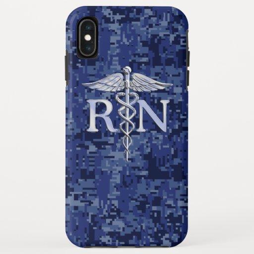 Registered Nurse RN Silber Caduceus Navy Blue Camo iPhone XS Max Case