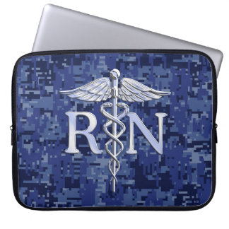 Registered Nurse RN Silber Caduceus Navy Blue Camo Computer Sleeve