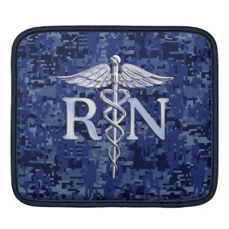Registered Nurse RN Silber Caduceus Navy Blue Camo iPad Sleeve