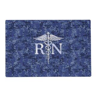 Registered Nurse RN Silber Caduceus Navy Blue Camo Placemat
