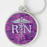 Registered Nurse RN Silver Caduceus Fuchsia Camo Keychain