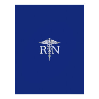 Registered Nurse RN Silver Caduceus Navy Blue deco Letterhead