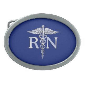 Registered Nurse RN Silver Caduceus Navy Blue deco Oval Belt Buckle