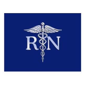 Registered Nurse RN Silver Caduceus Navy Blue deco Postcard