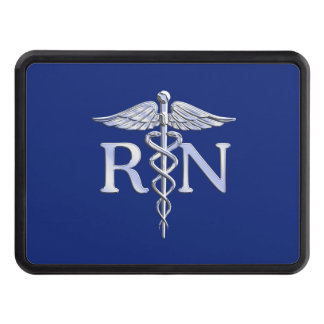 Registered Nurse RN Silver Caduceus Navy Blue deco Trailer Hitch Covers