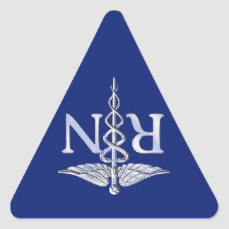 Registered Nurse RN Silver Caduceus Navy Blue deco Triangle Sticker