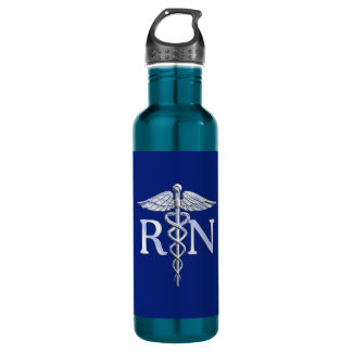 Registered Nurse RN Silver Caduceus Navy Blue deco Water Bottle
