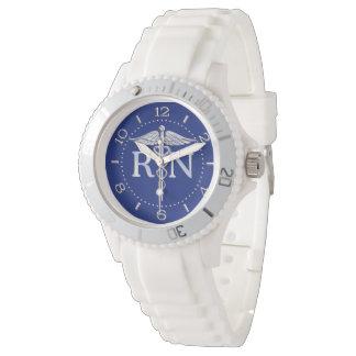 Registered Nurse RN Silver Caduceus Navy Blue Dial Wrist Watches