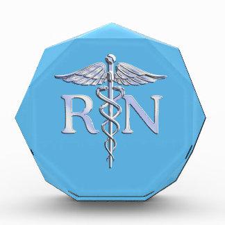 Registered Nurse RN Silver Caduceus on Baby Blue Acrylic Award