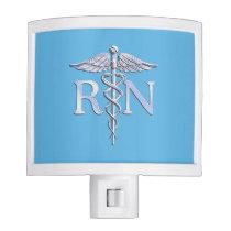 Registered Nurse RN Silver Caduceus on Baby Blue Night Light