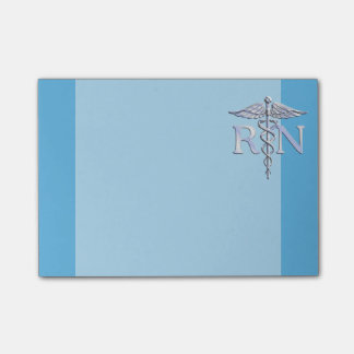 Registered Nurse RN Silver Caduceus on Baby Blue Post-it® Notes