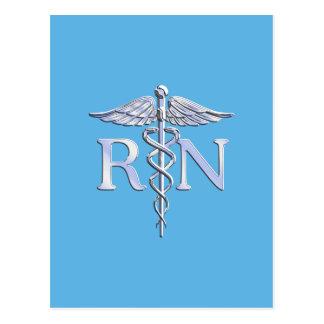 Registered Nurse RN Silver Caduceus on Baby Blue Postcard