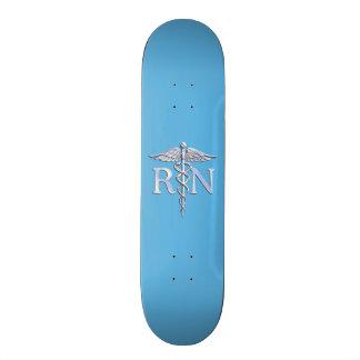 Registered Nurse RN Silver Caduceus on Baby Blue Skateboard Deck