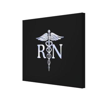 Registered Nurse RN Silver Caduceus on Black Canvas Print