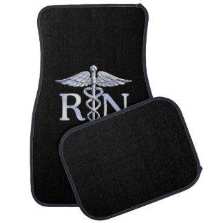 Registered Nurse RN Silver Caduceus on Black Car Mat