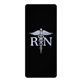 Registered Nurse RN Silver Caduceus on Black Card