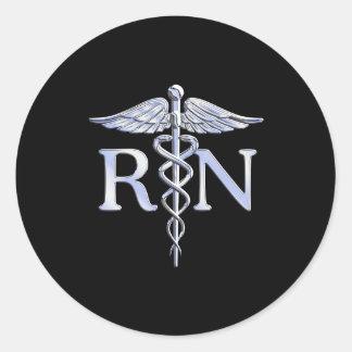 Registered Nurse RN Silver Caduceus on Black Classic Round Sticker