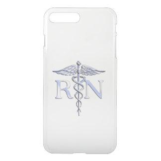 Registered Nurse RN Silver Caduceus on Black iPhone 7 Plus Case
