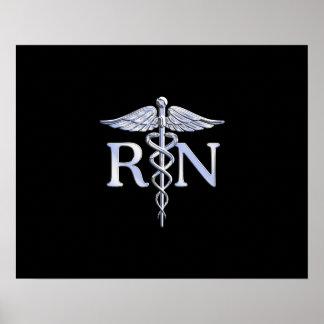 Registered Nurse RN Silver Caduceus on Black Poster