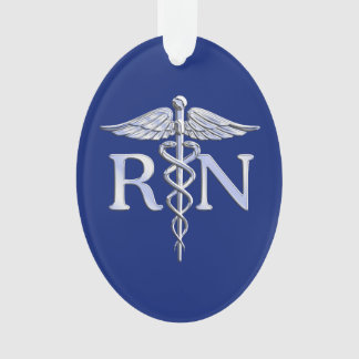 Registered Nurse RN Silver Caduceus on Navy Blue Ornament