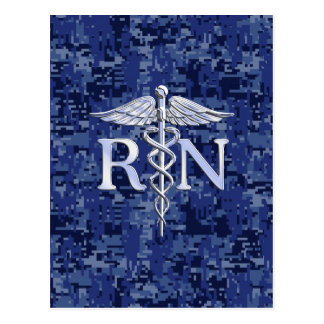 Registered Nurse RN Silver Caduceus on Navy Camo Postcard
