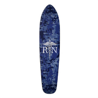Registered Nurse RN Silver Caduceus on Navy Camo Skateboard Deck