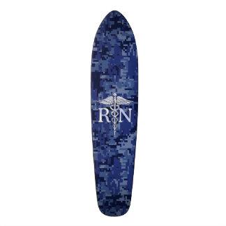 Registered Nurse RN Silver Caduceus on Navy Camo Skateboard Deck