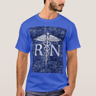 Registered Nurse RN Silver Caduceus on Navy Camo T-Shirt