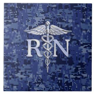 Registered Nurse RN Silver Caduceus on Navy Camo Tile