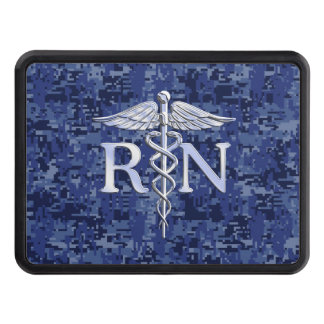 Registered Nurse RN Silver Caduceus on Navy Camo Tow Hitch Cover