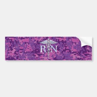 Registered Nurse RN Silver Caduceus on Pink Camo Bumper Sticker