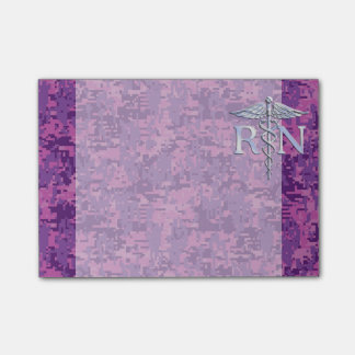 Registered Nurse RN Silver Caduceus on Pink Camo Post-it Notes