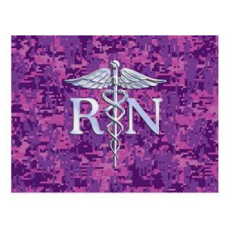 Registered Nurse RN Silver Caduceus on Pink Camo Postcard