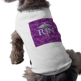 Registered Nurse RN Silver Caduceus on Pink Camo Shirt