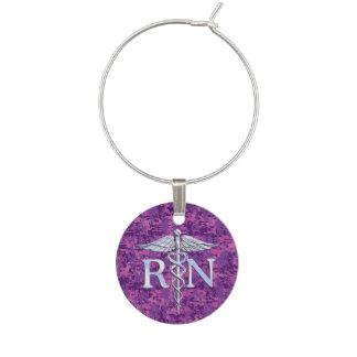 Registered Nurse RN Silver Caduceus on Pink Camo Wine Charm