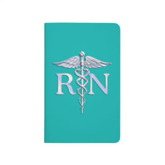 Registered Nurse RN Silver Caduceus on Turquoise Journal